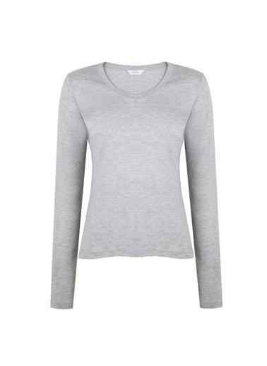 Deux Beautés Blanche Bisiklet Yaka Uzun Kollu T-Shirt Gri